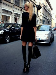 Black dress + black knee high socks outfit.