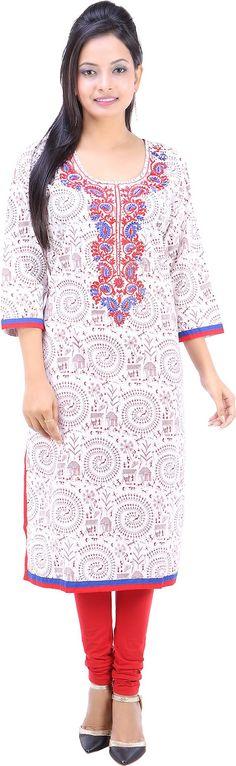 Fuchisa Creation Printed Women's Straight Kurta - Buy White, Blue,Red,Brown Fuchisa Creation Printed Women's Straight Kurta Online at Best Prices in India | Flipkart.com