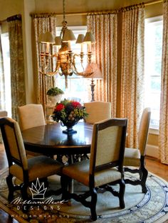 Designed by Shane Meder of Black Sheep Interiors. Curtains created by William West Designs. Dining Chairs, Dining Table, How To Be Graceful, Multi Colored Flowers, Outdoor Cafe, Beautiful Dining Rooms, Window Shutters, Stone Flooring, Fabric Design