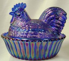 5″ Covered Rooster – Cobalt Blue Carnival