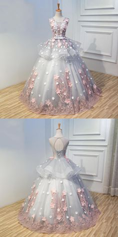 Ball Gown Floor Length Scoop Neck Sleeveless Appliques Lace Up Long Prom Dress,Wedding Dress # Party DressTrendy Short Prom Gowns for Chics Prom Dress Stores, Quince Dresses, Ball Gowns Prom, Cheap Prom Dresses, Ball Dresses, Evening Dresses, Formal Dresses, Homecoming Dresses, Pretty Dresses