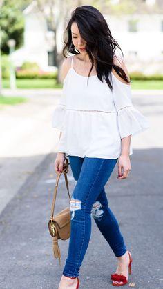Spring Outfit 2016: Nordstrom Cold-Shoulder Top w/ Bell Sleeve, @bananarepublic Honey Fringe Sandals