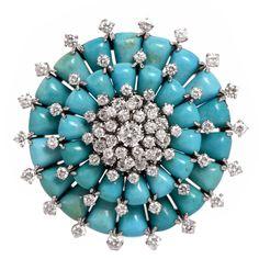 Van Cleef & Arpels Persian Turquoise Diamond Platinum Brooch Pin