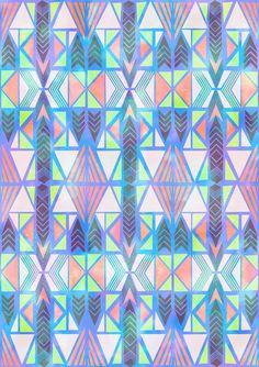 Nabu Tribal Pastel Art Print by SchatziBrown #geometric #pattern #tribal