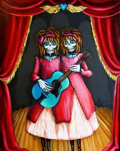 steampunk carnival | ... Day of the Dead, Steampunk art print - Twins Guitar Carnival Art print