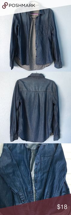Aeropostale Denim Button Up Shirt Barely worn so in great condition but is kinda long. May need ironing. Feel free to offer! Aeropostale Tops Button Down Shirts