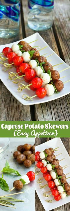 Caprese Potato Skewers…Six ingredients to a healthy, tasty summertime appetizer! 85 calories and 3 Weight Watchers SmartPoints | cookincanuck.com