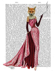 Glamour Fox in Pink Fox Art Print dictionary page book by FabFunky, $15.00