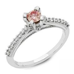 Vintage Bridal Round Pink Diamond Solitaire with Beading and Accent Diamonds
