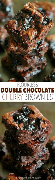 Flourless Double Chocolate Cherry Brownies -- rich and fudgy brownies that are grain-free and made without beans! -Can be vegan by replacing eggs with flax eggs (or your fave egg replacer) Cherry Brownies, Chocolate Chip Brownies, Fudgy Brownies, Healthy Brownies, Flourless Chocolate, Chocolate Recipes, Paleo Dessert, Dessert Recipes, Brownie Bar