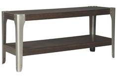 Industrial style is on a roll. Rock the look with the Geriville sofa console table. Mixed media design blends wood veneer with satin nickel-tone metal brackets punctuated with nailhead trim. Easy To Love, Trends, Nailhead Trim, Wood Veneer, Console Table, Industrial Style, Entryway Tables, Furniture, Sideboard