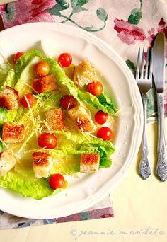 Easy Caesar Salad. Romaine lettuce torn up, cherry tomatoes, garlic croutons, caesar dressing, parm cheese. MY FAV!