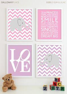 Baby Girl Nursery Art Chevron Elephant Nursery Prints, Kids Wall Art Baby Girls Room Baby Nursery Decor Playroom Rules Quote Art - Four 8x10
