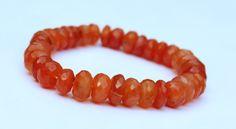 Adjustable Natural Carneline Gemstone Drilled Stone Beads 9mm-10mm Rondelle Shape Faceted Beads Bracelet by zakariyagems on Etsy