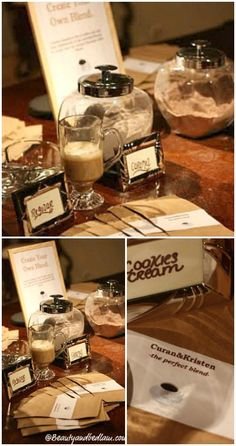 Make Your Own Coffee Bar. Great for parties and weddings. I love this DIY idea. So creative and a wonderful party favor. #diy