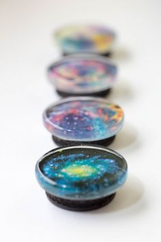 SPACE MAGNETS! Set of four one-inch magnets: Tiny galaxies and nebulas for your fridge (or other metal stuff) by LuluAlltheWayHome on Etsy https://www.etsy.com/listing/238160408/space-magnets-set-of-four-one-inch