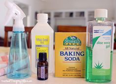 homemade deodorant spray- 1/2 cup witch hazel 1/4 cup aloe vera gel (or juice) 1/4 teaspoon baking soda 10 drops Clary Sage Essential Oil (one of the most effective deodorant essential oils that has a crisp, refreshing scent!)