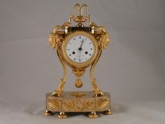 Mantle Clock In Gilded Bronze Empire Period, Galerie de Fontaine, Proantic
