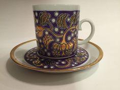 Arabia China Porcelain Demitasse Cup & Saucer Set Wartsila Finland Iiris…