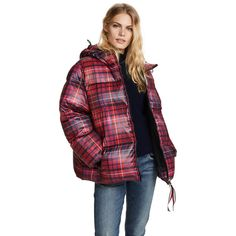 Hilfiger Collection Tartan Short Down Coat (41.585 RUB) ❤ liked on Polyvore featuring outerwear, coats, hooded down coat, long sleeve coat, short coat, short puffer jacket and shiny puffer jacket
