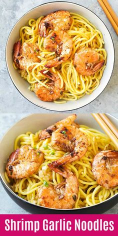Garlic Noodles Shrimp Garlic Noodles - the best garlic noodles you'll ever make. Buttery, garlicky noodles served with juicy jumbo shrimp. It's so good, just like the best Asian restaurants Seafood Recipes, Dinner Recipes, Cooking Recipes, Garlic Shrimp Recipes, Recipes With Shrimp, Buttery Garlic Shrimp, Baked Shrimp, Spicy Shrimp, Shrimp Tacos