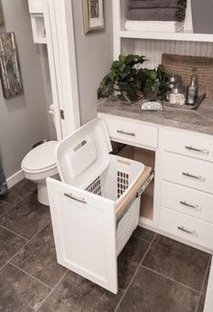 A great way to store the laundry basket