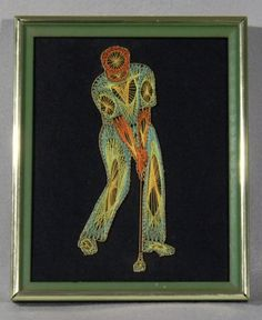 SOLD! Vintage multicolored string art of man swinging a golf club.