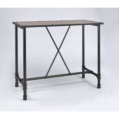Top Product Reviews for Caitlin Rustic Oak and Metal Bar Table - Overstock.com - Mobile