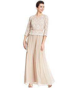 R&M Richards Belted Lace Popover Chiffon Gown  at Macy's @philmooney