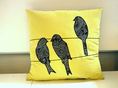 "Bird on a wire"" applique pillow cover - made from recycled fabrics - yellow and black paisley"