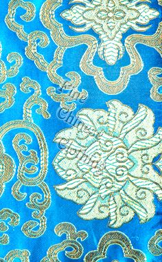 Metallic fabric oriental Japanese Chinese style gold blue blueberries beads