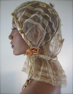 Grand 1920's Bridal Veil Cap, Flapper Wedding Headdress