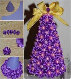 How to DIY Kanzashi Flower Christmas Tree Topiary | www.FabArtDIY.com #diy #tutorial #craft #ribbon #Christmas tree #topiary LIKE Us on Facebook ==> https://www.facebook.com/FabArtDIY