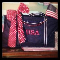 Carry all your 4th of July party supplies with this:  Large Utility Tote in Navy with Red Embroidery along with a red polka dot scarf! #thirtyonegifts  www.mythirtyone.com/karissaweir