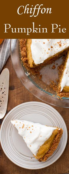A truly special chiffon pumpkin pie with a light pudding-like pumpkin filling and a gingersnap cookie crust.