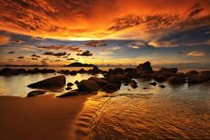 Photograph Burning Sky by Hendra Heng on Pretty Beach, I Love The Beach, Beautiful Sky, Beautiful Images, God Of Wonders, Wonderful Picture, Beach Scenes, Pictures To Paint, Landscape Photographers