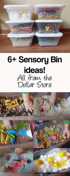 6+ Sensory Bins for under $30 from the Dollar Store – with tons of other ideas! #sensorybins #sensoryplay #easysensoryplay #dollarstoreactivities #sensorybin #sensorybinlist #sensory #bins #sensoryboxes #sensorybox #sensoryboxplay #sensoryplayonabudget #dollarstore