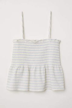 Top in a woven cotton blend. Narrow, adjustable shoulder straps, wide, ruffle-trimmed smocking at top, and seam at waist with flared peplum. Cute Comfy Outfits, Cute Summer Outfits, Trendy Outfits, Girl Outfits, Fashion Outfits, Teenage Outfits, 20s Fashion, Fashion Styles, Girl Fashion