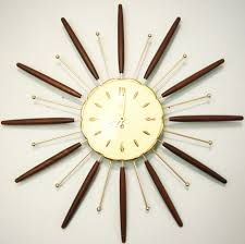 Do you like this space-age atom clock? Atomic Time, Sunburst Clock, Modern Clock, Mid Century Decor, Wood And Metal, Teak, Mid-century Modern, Antiques