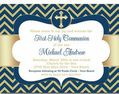 First Communion Invitation Boy First by pinkdahliaprintable