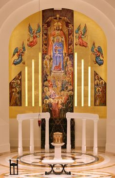 mural at Madonna della Strada Chapel at Loyola University Chicago, Sacred Architecture, Beautiful Architecture, Beautiful Buildings, Loyola University Chicago, Modern Church, The Second City, My Kind Of Town, Sacred Art, Chicago Illinois