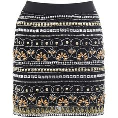 Miss Selfridge Embellished Black Mini Skirt ($44) ❤ liked on Polyvore