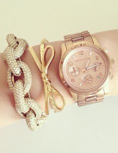Layered Gold Arm Candy | Love the Bow Bracelet ♡ Michael Kors I love you!