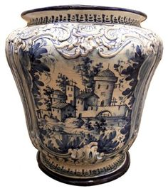 An 18th Century Italian Blue and White Majolica Jardiniere and Centerpiece Urn