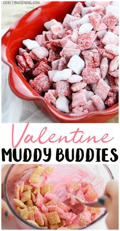 Make some adorable valentine muddy buddies for a valentines day treat dessert idea! Bag them up for valentine gift bags. Red, pink, and white chex treat! #valentinesday #valentinesdayfood #valentinesdaysnacks #valentinesdaytreats #muddybuddies #snacks #craftymorning