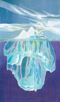 "Mary Edna Fraser's climate change art. 77x44-inch batik called ""Iceberg"" on a digital composite photograph by Ralph Clevenger, depicting an Antarctic iceberg weighing approximately 300 million tons; the underwater image was shot in Alaska and flipped upside down."