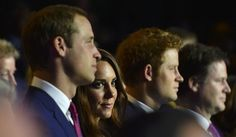 London 2012 Opening Ceremony - Britain's Prince William (L), his wife Catherine, Duchess of Cambridge (2nd) and Prince Harry (3rd L) watch the opening ceremony of the London 2012 Olympic Games at the Olympic Stadium July 27, 2012. REUTERS/Toby Melville (BRITAIN - Tags: ENTERTAINMENT SOCIETY SPORT OLYMPICS POLITICS)