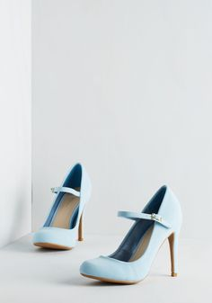 Shoe Had Me At Hello Heel in Sky - High, Faux Leather, Blue, Solid, Prom, Wedding, Party, Work, Daytime Party, Bridesmaid, Vintage Inspired, 20s, Minimal, Good, Mary Jane, Variation, Buckles, Pastel