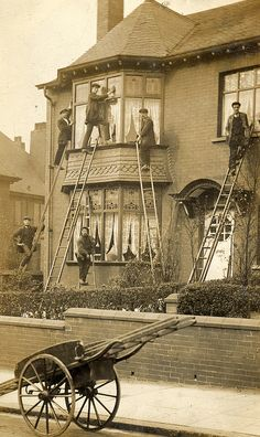 Washing windows a hundred years ago