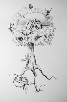 "Yggdrasil | Flickr - Photo Sharing! ""Ball Point Pen on Paper, 2012   I was inspired by Friedrich Wilhelm Heine's The Ash Yggdrasil engraving and decided to create my own.   It is known that in Norse Mythology the world resides in a massive ash tree - four stags live inside the tree along with an eagle, a squirrel running up and down the trunk, and the dragon living underneath, eating the roots of the tree."" - Adele van Heerden"